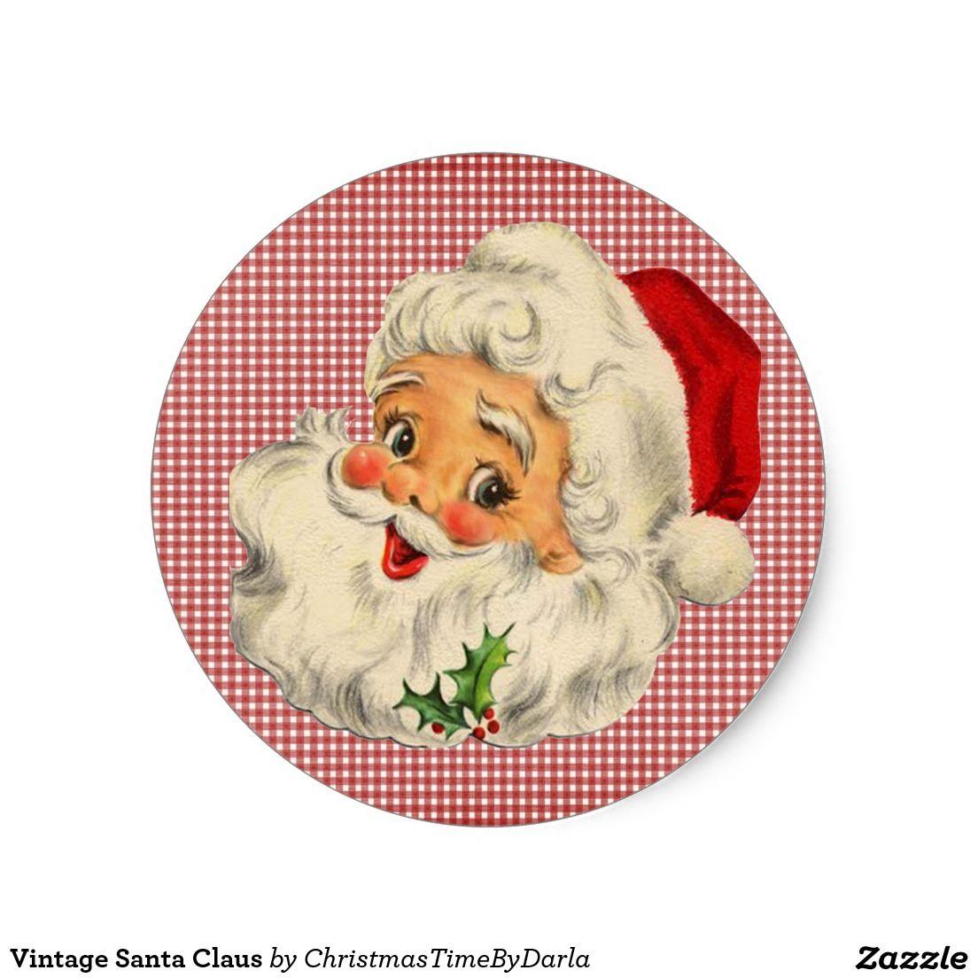 Vintage Santa Claus Classic Round Sticker Zazzle Com In 2021 Christmas Quilts Vintage Santas Christmas Clipart Free