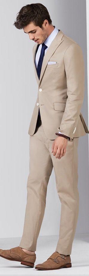Beige Suit White Dress Shirt Navy Necktie