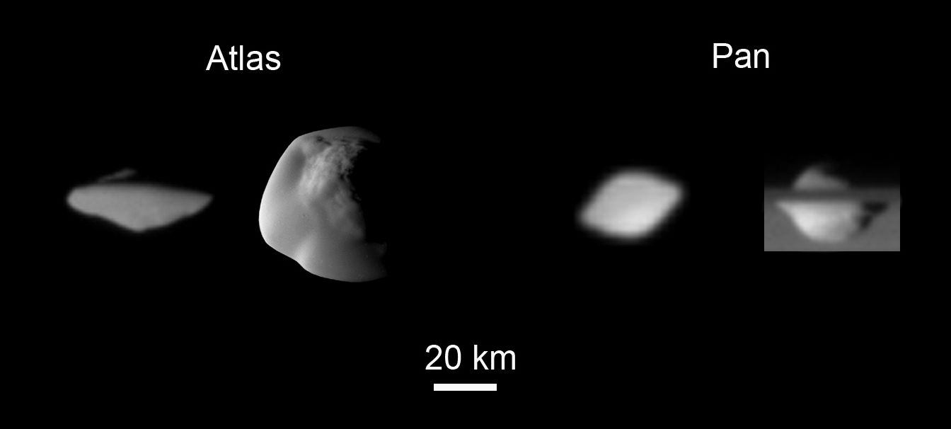 Annotated version of Saturn's Saucer Moons Atlas and Pan.