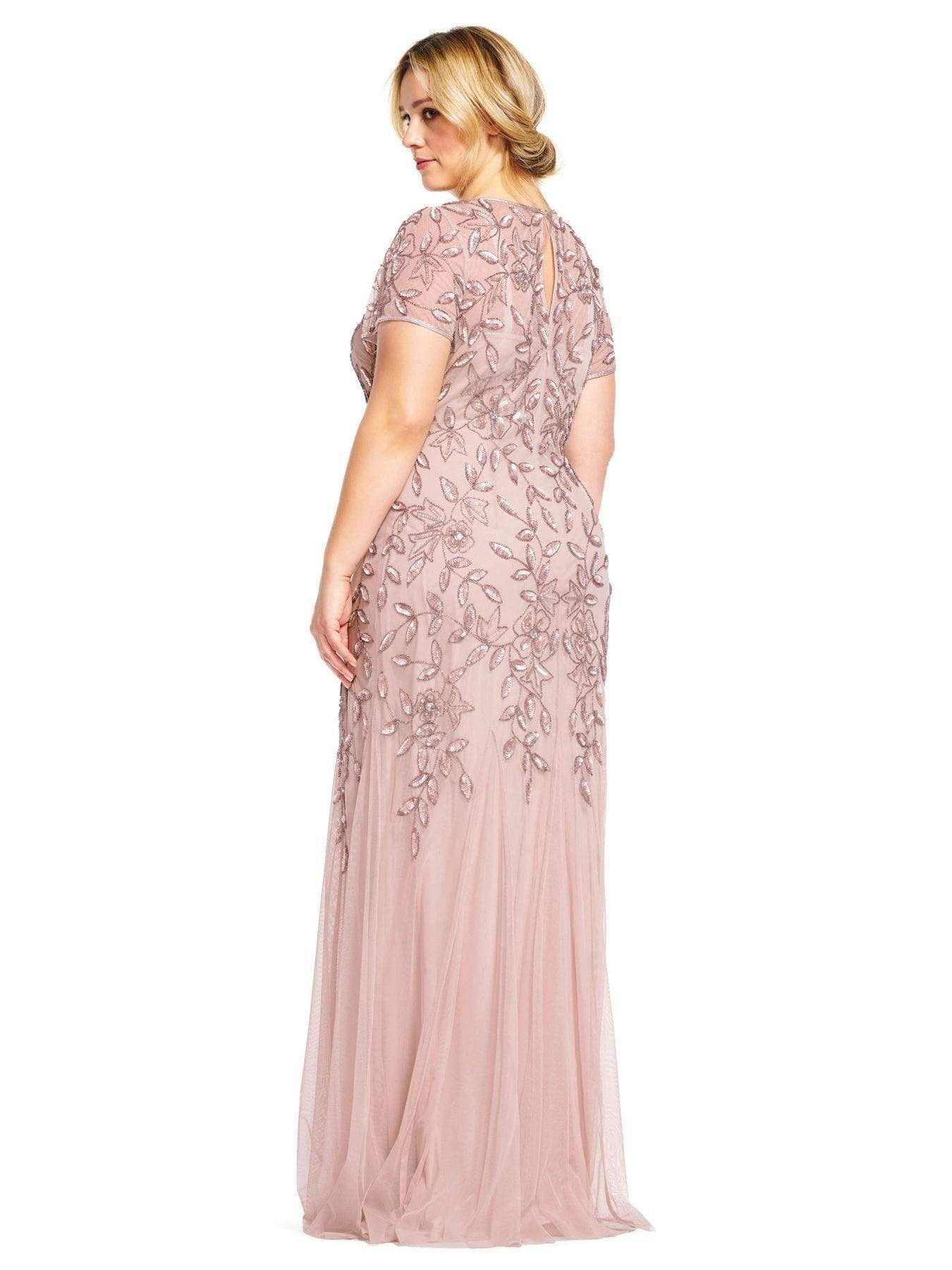 Adrianna Papell Floral Beaded Godet Gown Rose Gold Dress In 2020 Long Mothers Dress Mother Of The Bride Dresses Long Mother Of The Bride Suits