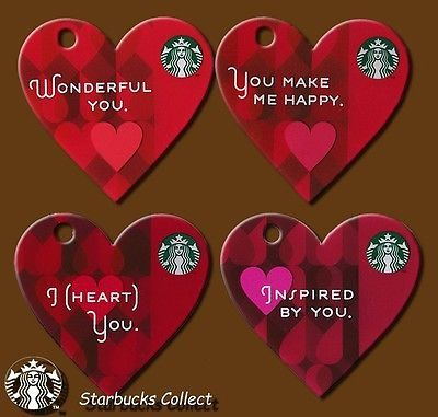 Lot Of 4 Starbucks 2014 Gift Card Happy Valentine S Day I Heart You