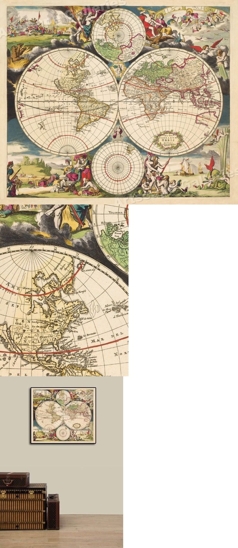 World Maps 98466 1703 World Map Historic Vintage Style Old World