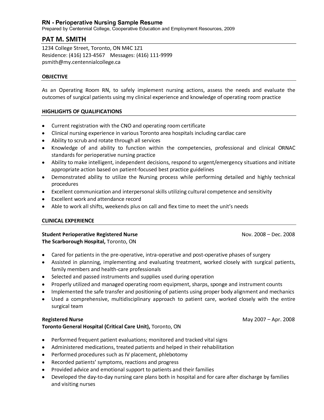 Perioperative Nurse Resume  HttpWwwResumecareerInfo