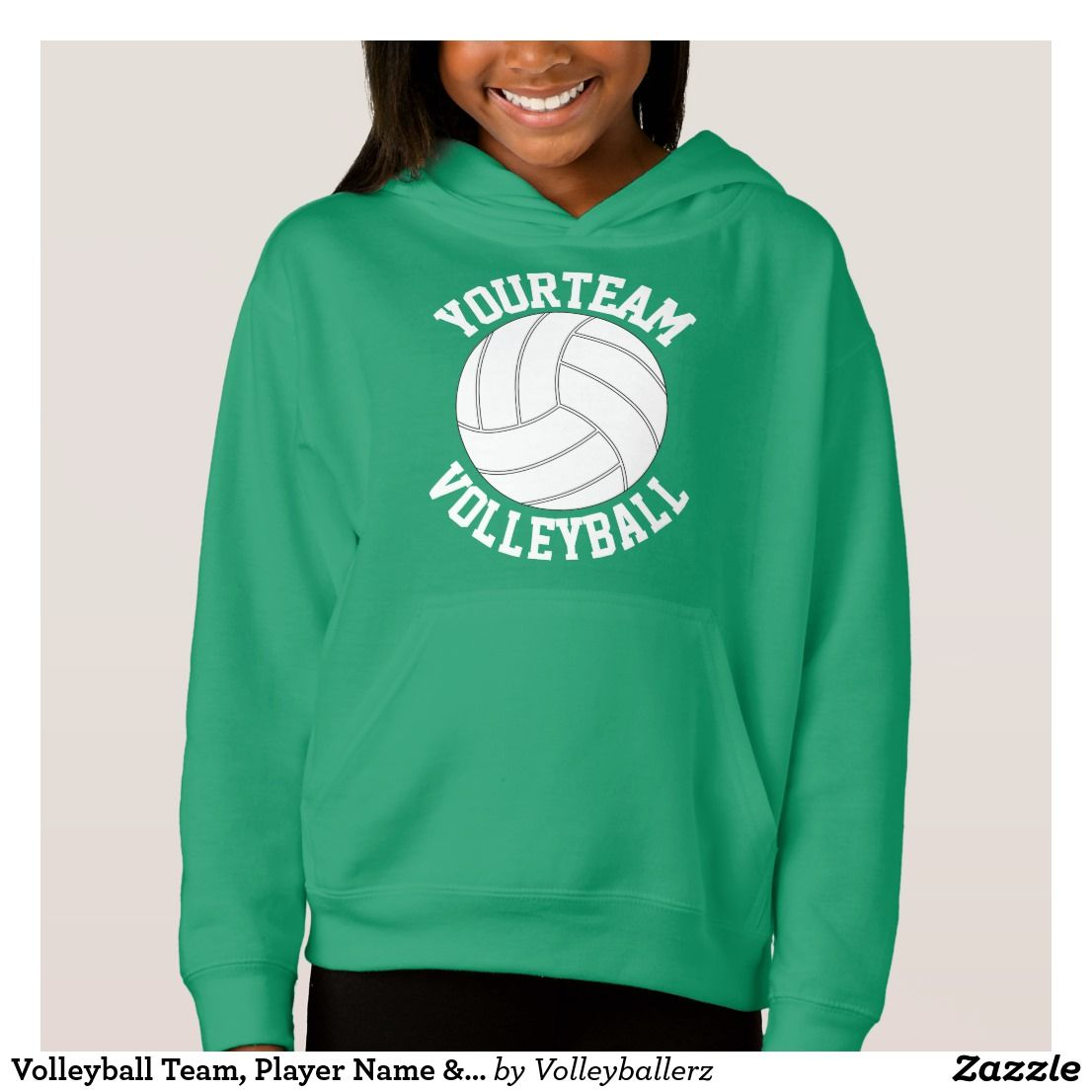 Volleyball Team Player Name Jersey Number Girls Hoodie Zazzle Com Volleyball Outfits Volleyball Team Personalized Hoodies