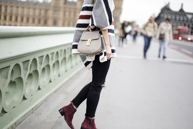 Happily Grey lovely in layers. Wearing Ann Taylor's Blanket Stripe Poncho on Westminster Bridge, London, UK.