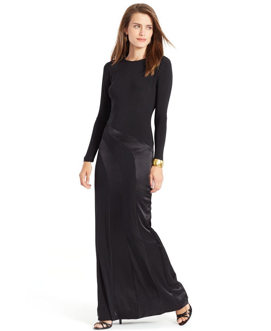90e31d8512b Lauren Ralph Lauren Long-Sleeve Satin-Panel Gown