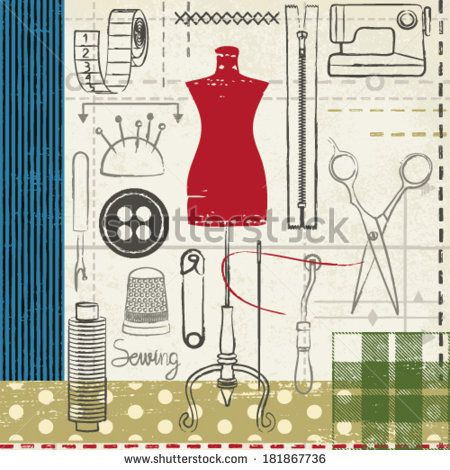 Grunge hand drawn sewing related poster - stock vector