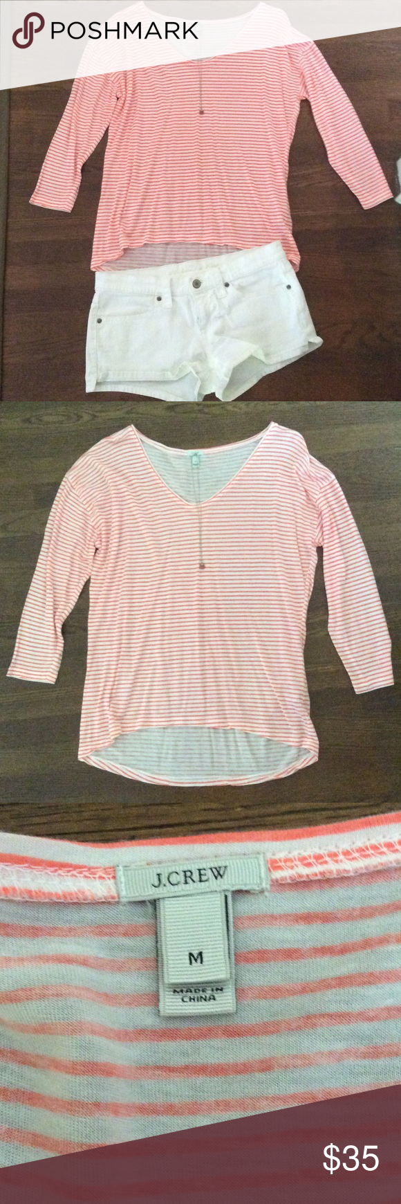 Slouchy 3/4 sleeved stripe t-shirt🌸 This is a super comfy tee by J. Crew. It's 3/4 length sleeves, has a fun bean orange stripe and is really cute worn fitted or oversized. I only wore it a handful of times, never put in the dryer. In perfect condition. Shorts displayed are for sale, see listing. Necklace not for sale. TTS. Doesn't require a tank to be worn underneath. It's just a matter of preference. J. Crew Tops Tees - Long Sleeve