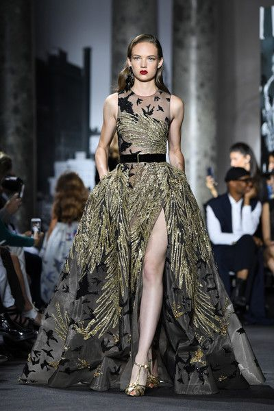 A model walks the runway during the Elie Saab Haute Couture Fall/Winter 2016-2017 show as part of Paris Fashion Week on July 6, 2016 in Paris, France.