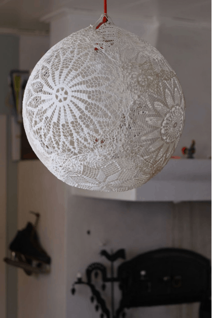 Diy doily pendant lamp with lace doilies pendant lamps and diy doily pendant lamp with lace aloadofball Image collections