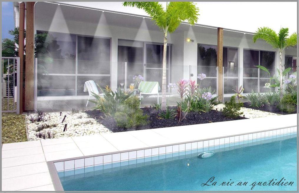 le brumisateur de jardin vous enrobe d 39 une vapeur d 39 eau fraiche sur la terrasse au bord de la. Black Bedroom Furniture Sets. Home Design Ideas