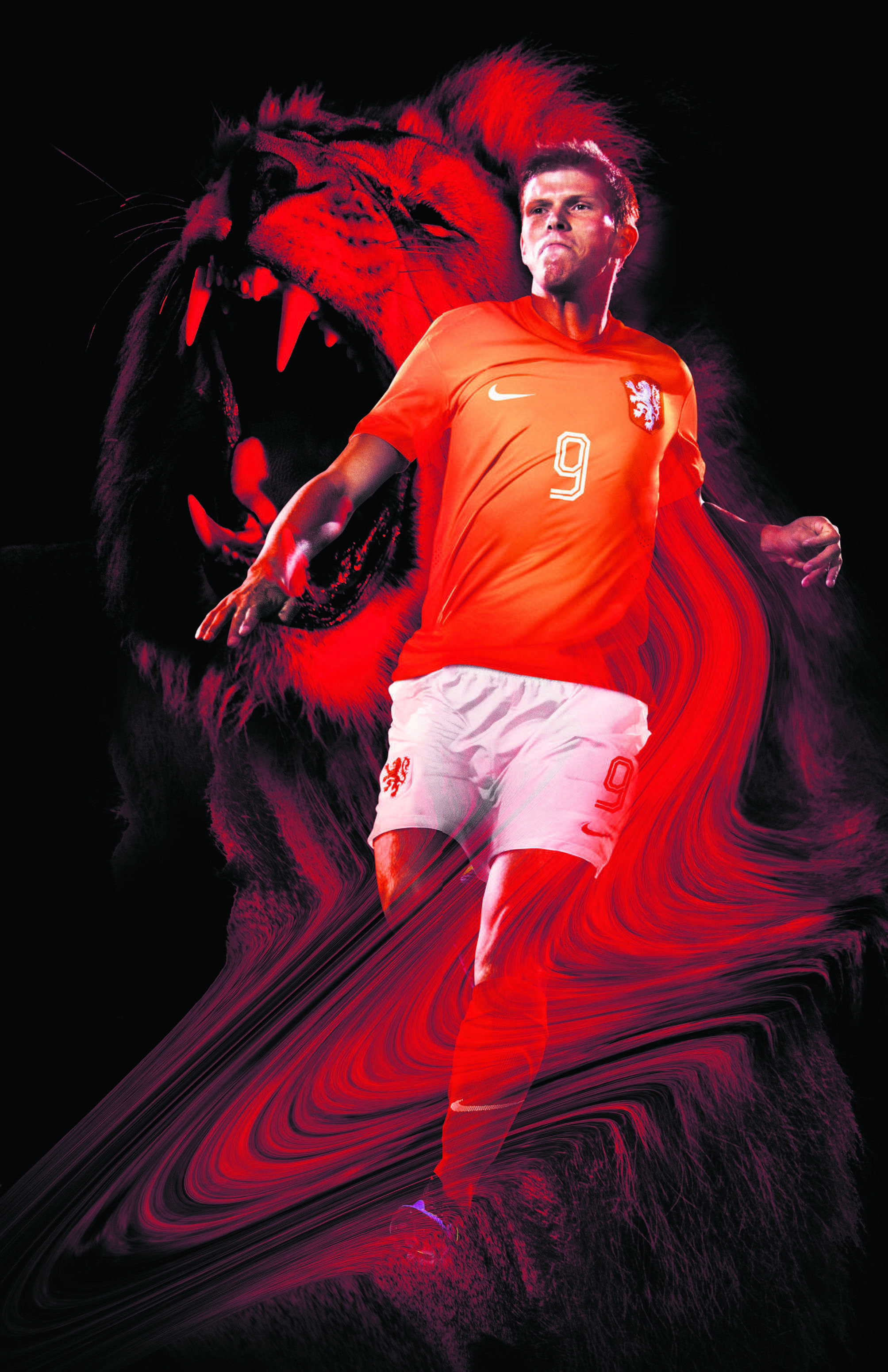 Klaas Jan Huntelaar - Official soccer shirt Dutch team, World Championship, Brasil 2014