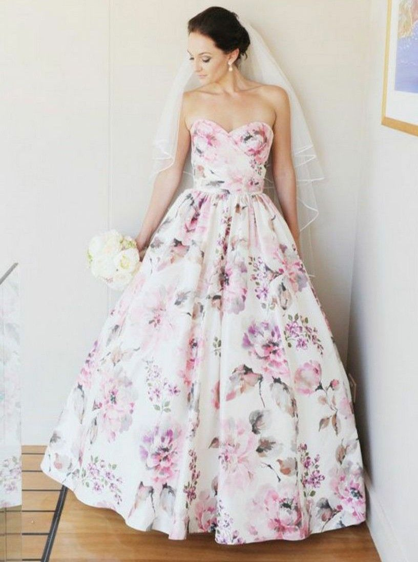 Aline sweetheart floor length floral satin wedding dress dresses