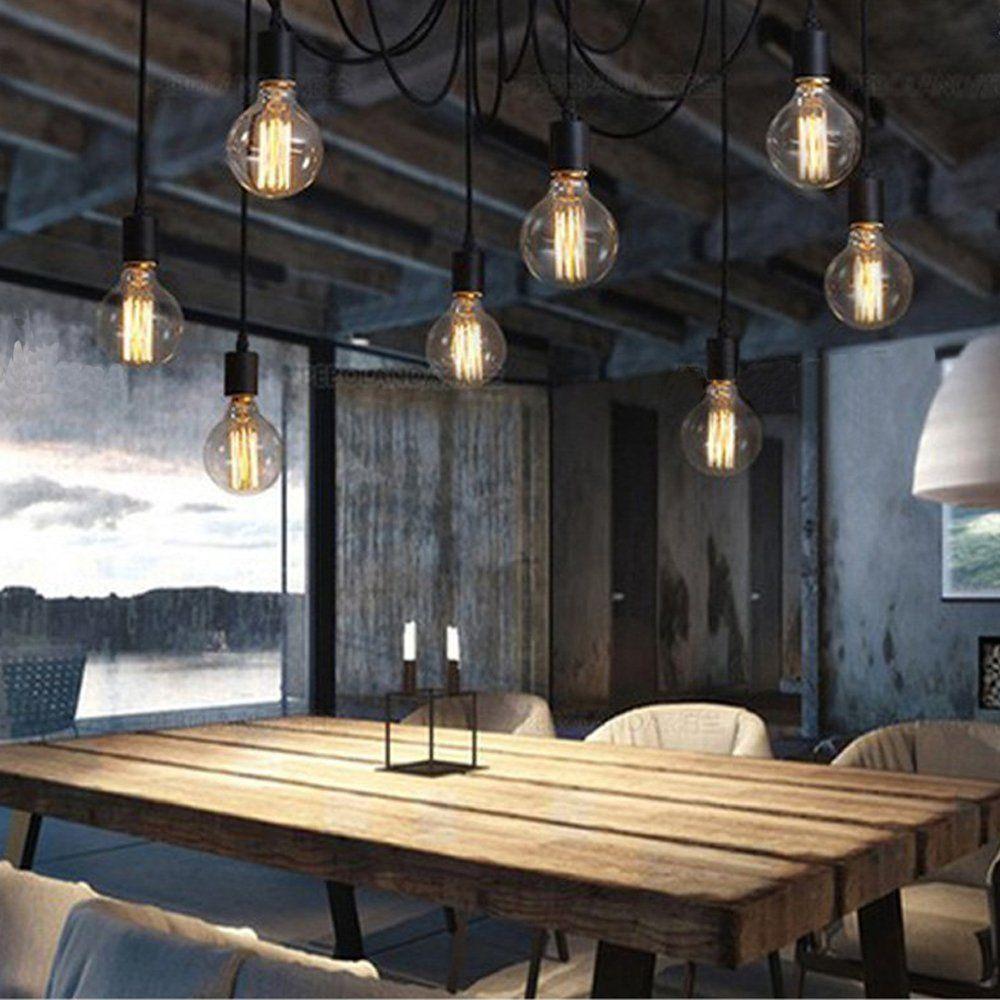 KAGU CULTURE Vintage DIY Leuchter Pendelleuchte Mit 8 Licht Fr Bar Cafeteria Wohnzimmer Restaurant Hotel