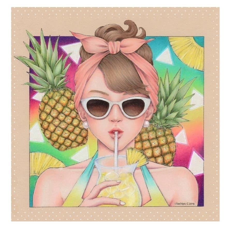 ちぃ On Instagram 線画 Sachiyoart G カラフルなパイナップルちゃん 完成しました 背景の色と水着の色かぶっちゃったけど 水着の色お気に入り やっぱり綺麗にグラデーション できるのはプリズマ サングラスはセリアのアルコール マーカーを使って下塗り