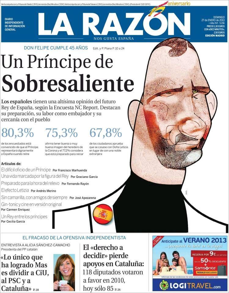 Los Titulares Y Portadas De Noticias Destacadas Españolas Del 27 De Enero De 2013 Del Diario La Razón Que Le Parec Portadas Diario Español Portadas De Diarios