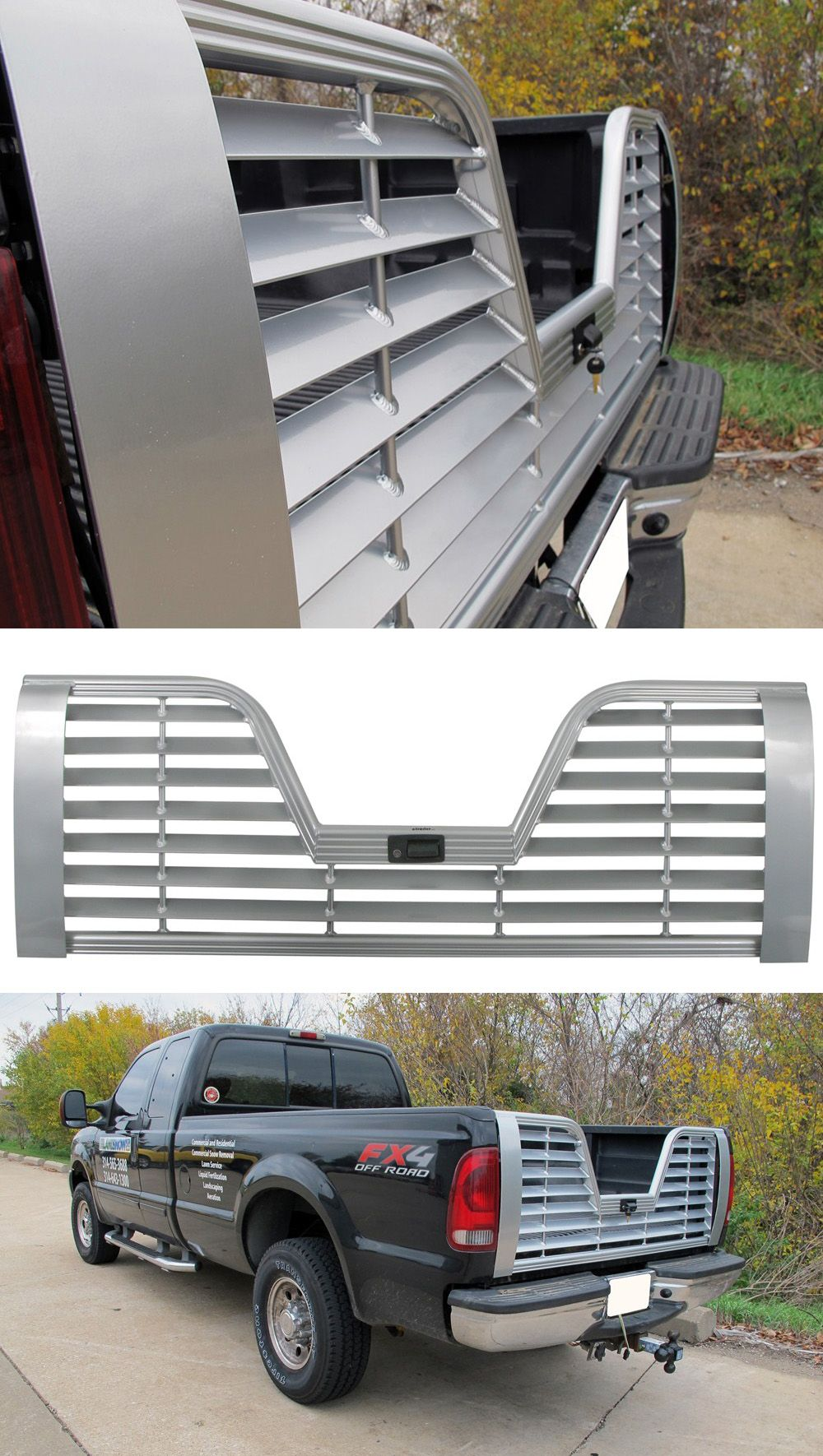 Husky liners premium 5th wheel louvered tailgate with locking handle aluminum