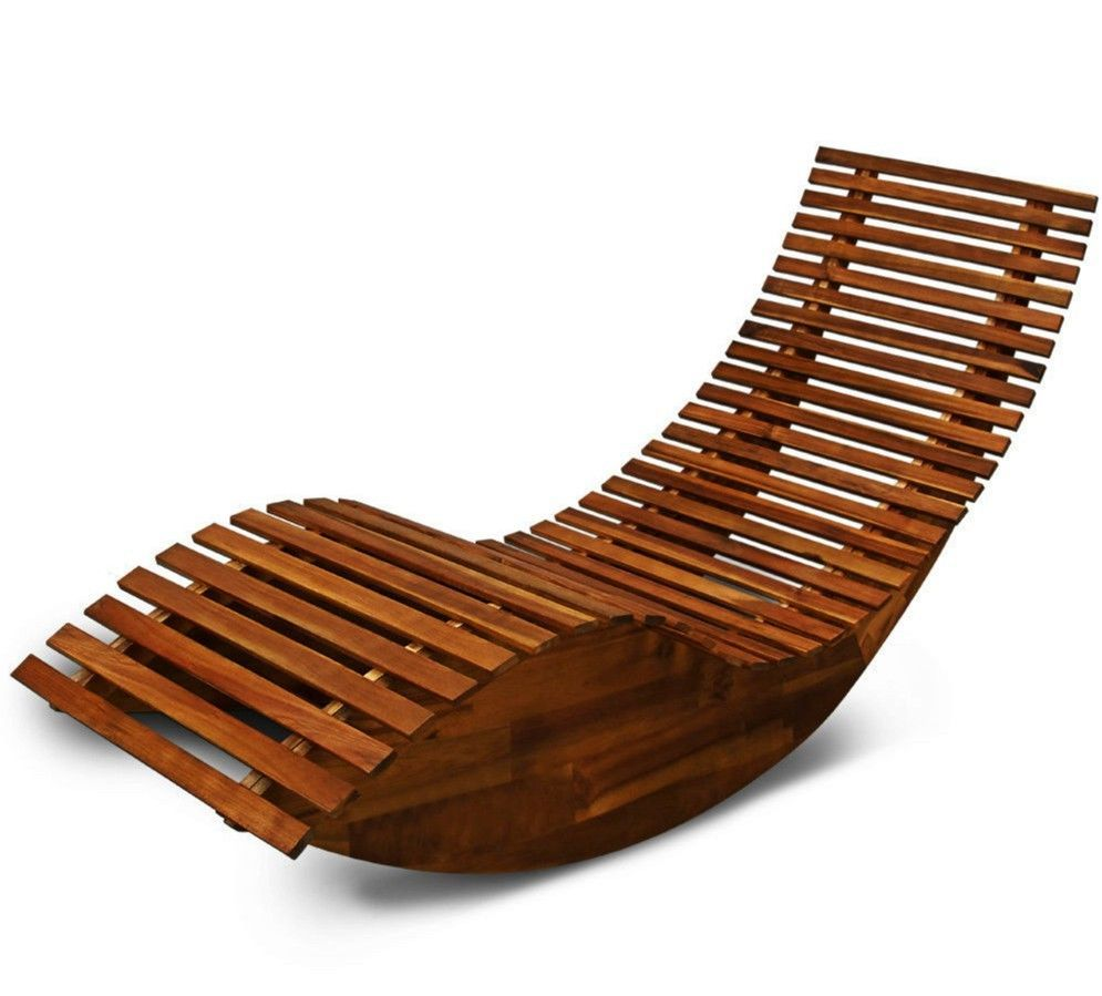 wooden garden sun bed patio lounger recliner rocking chair outdoor