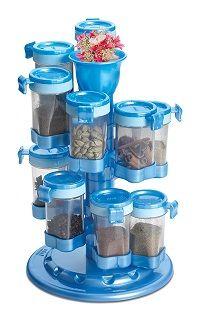 12 Jar Revolving Spiral Spice Rack Masala Storage Box ...
