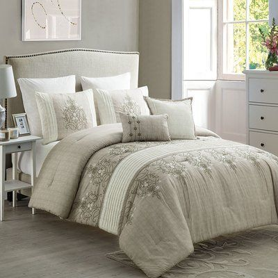 Photo of World Menagerie Ruppe 7 Piece Comforter Set Color: Taupe/Neutral, Size: Queen – …