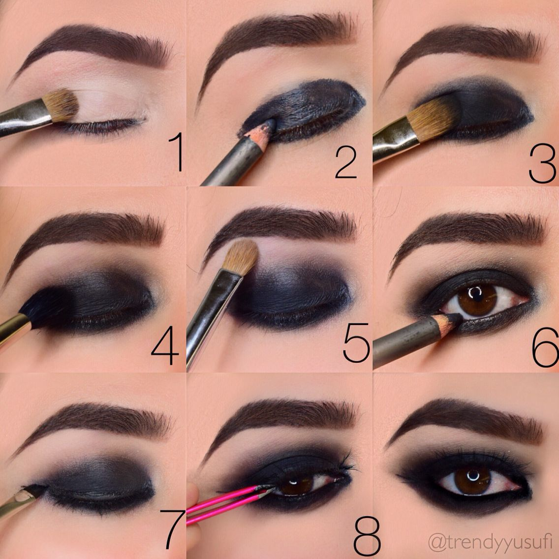Step by step on doing a blacked out smokey eye. Makeup by TrendyYusufi