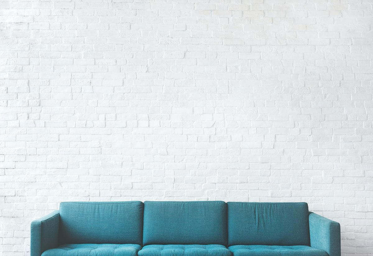 Download Premium Psd Of Teal Couch On A Mockup Brick Wall 5493 Couch Furniture Design Thrift Store Furniture Shabby Chic Diy