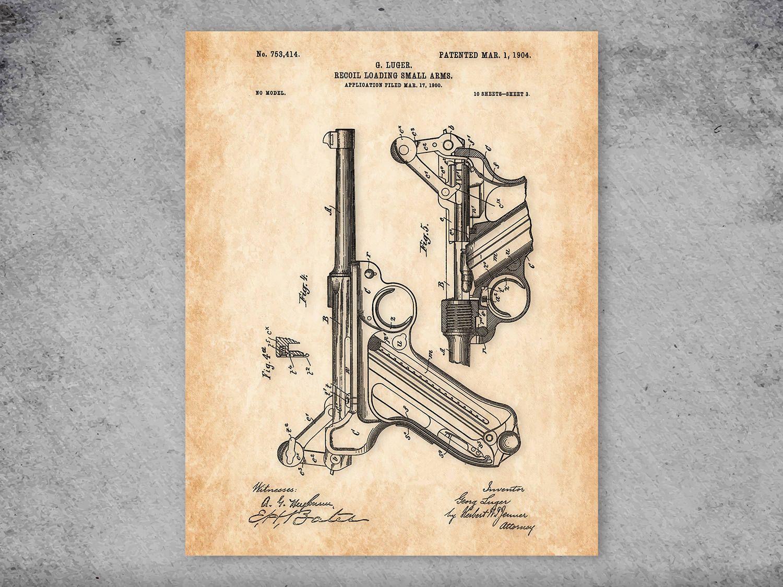 Luger patent print gun print vintage gun print garage decor man