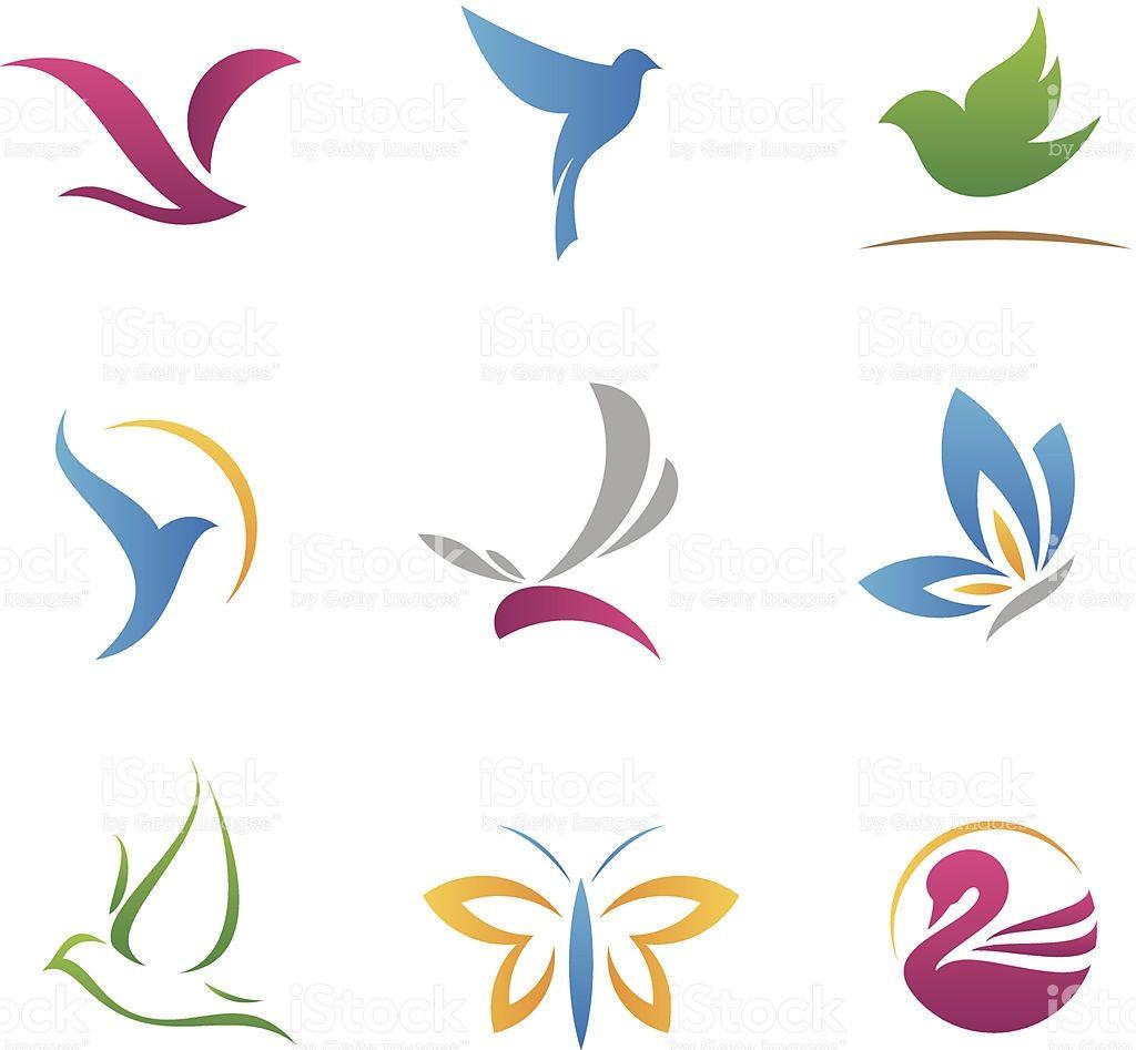 Flying logotipos e iconos illustracion libre de derechos libre de derechos
