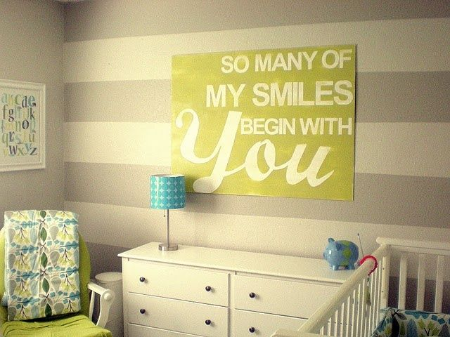 Nursery Idea – Grey and Beige Stripes With Yellow Accents | Ideas ...
