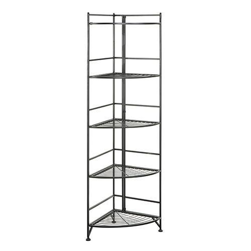 Designs2go Black Five Tier Folding Metal Corner Shelf Media Tower Convenience Concepts Corner Shelves