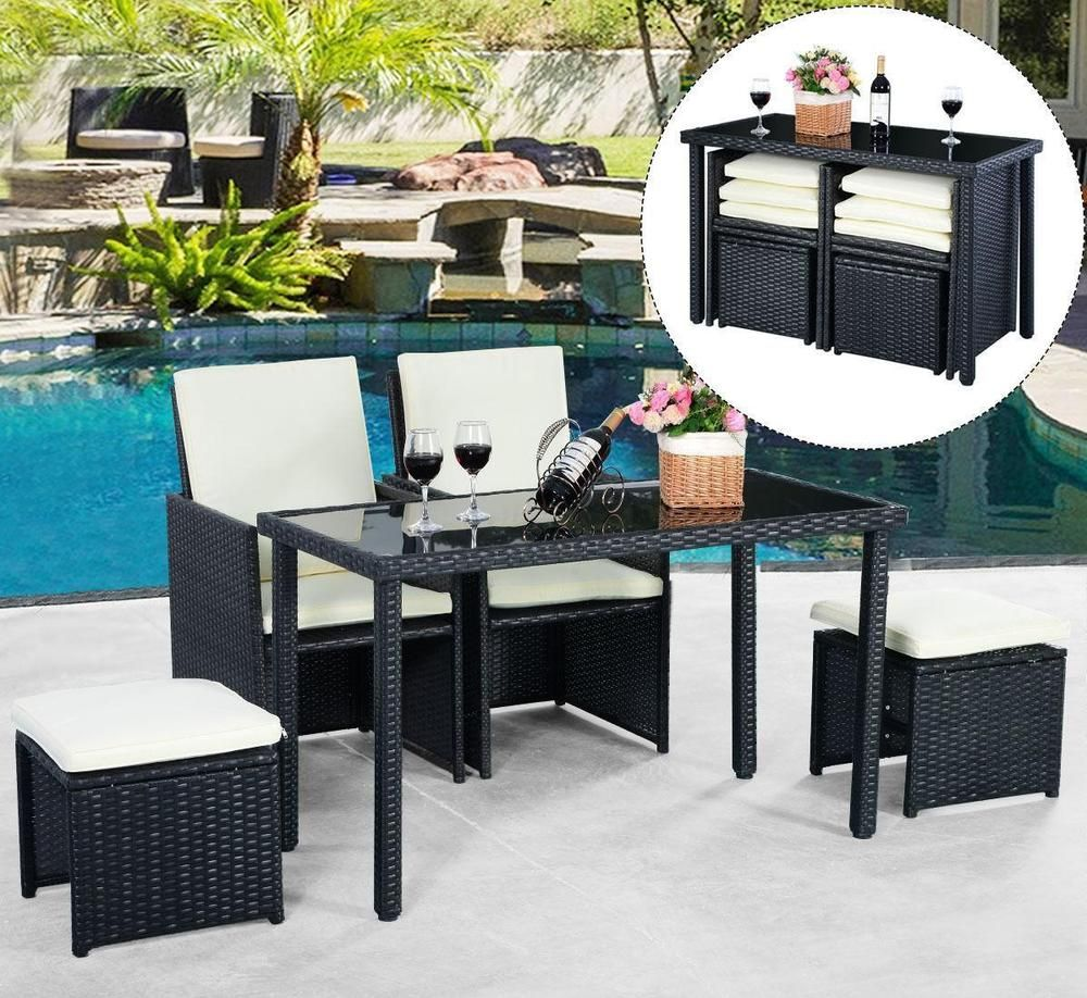 Wicker Patio Furniture Set Outdoor Rattan Dining Table Cushioned Chair  Ottoman Part 57