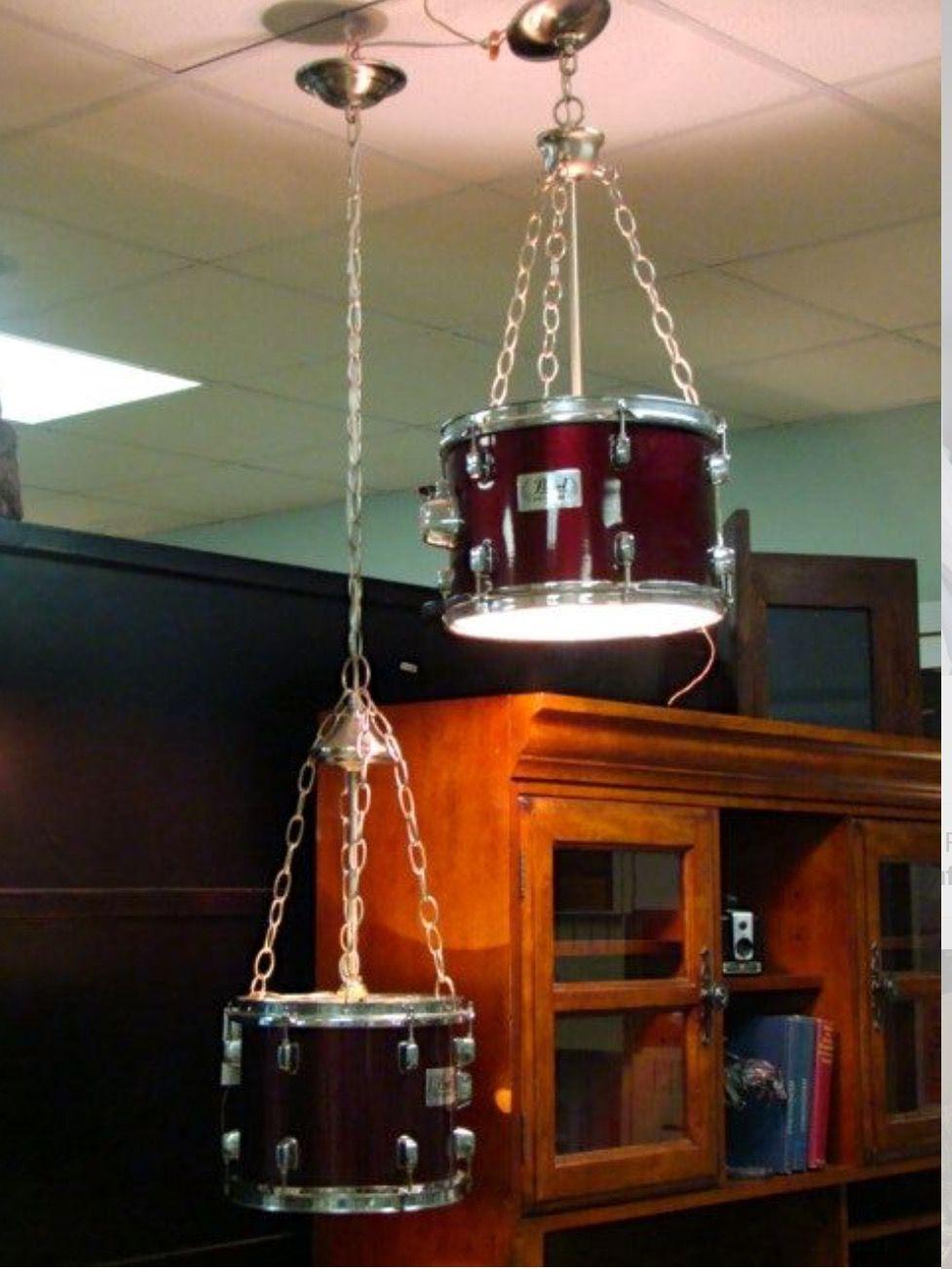 Hanging Drum Ceiling Light Met Afbeeldingen Muziek Decor
