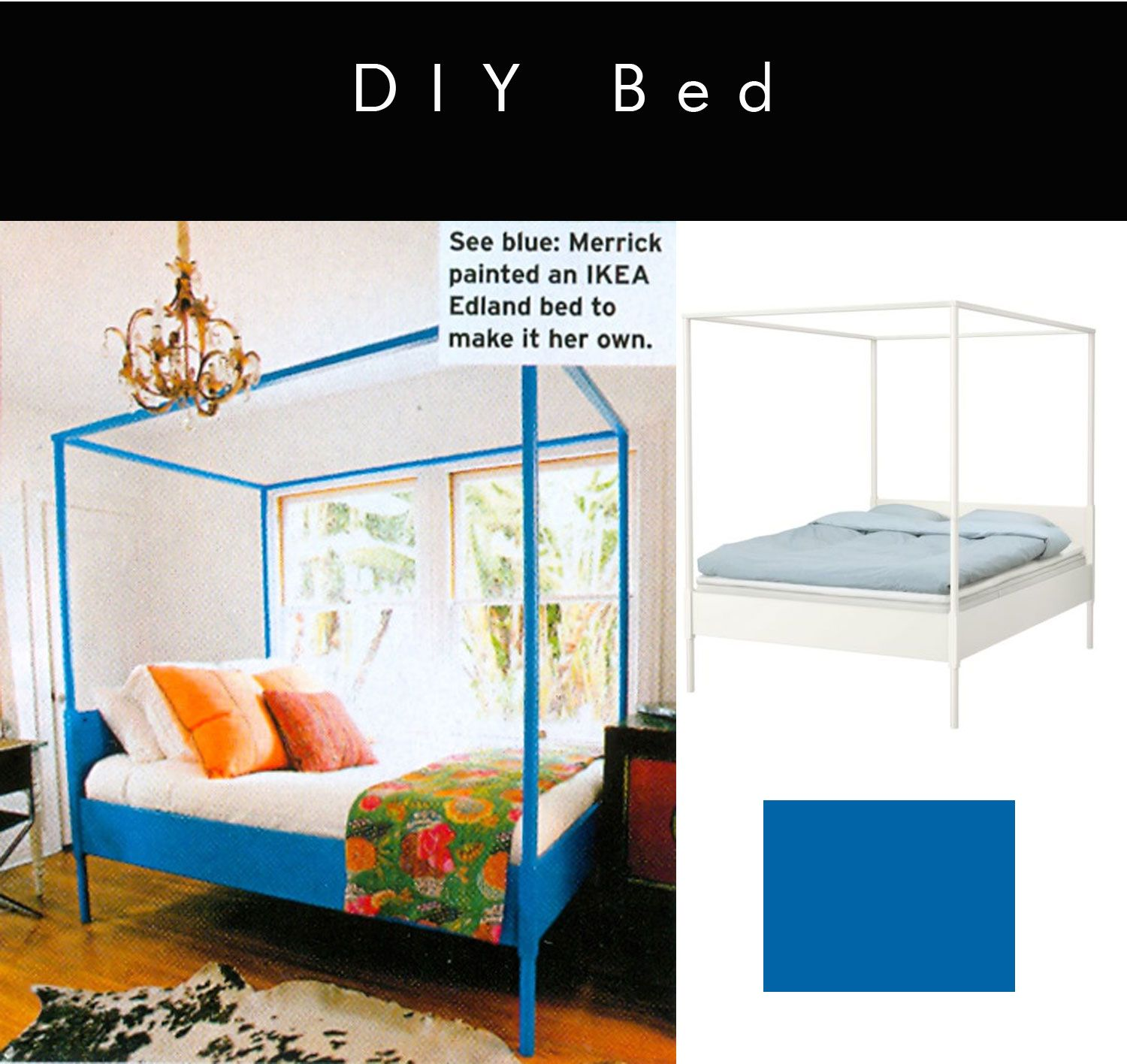 Ikea hack painted canopy bed in heidi merrick s room via for Elle decor beds