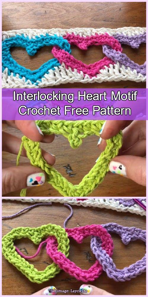 Crochet Linked Heart Motif Free Pattern Video Tutorial Creazioni