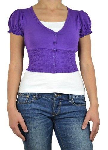 143Fashion Ladies Fashion V-Neck Button Down Cardigan, Purple ...