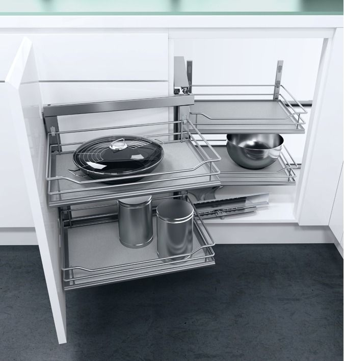 Swing Out Corner Storage Unit, Premea Grey Solid Base Silver Wire Baskets,  Automatic Pull Out Action, Vauth Sagel Wari Corner®   Häfele U.