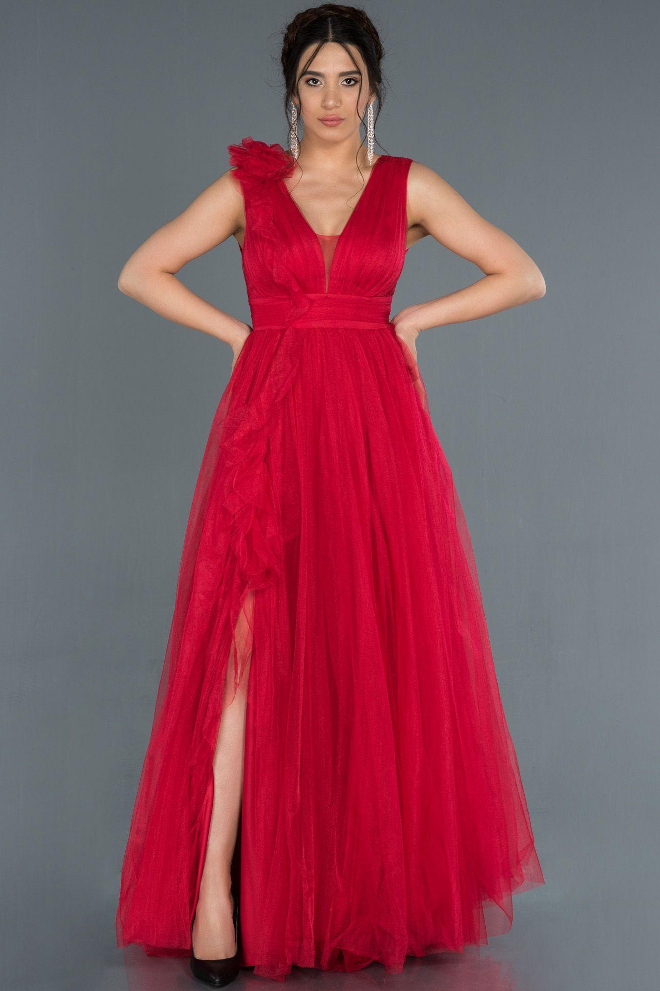 Kirmizi Bacak Dekolteli Tul Abiye Elbise Abu1335 2020 The Dress Elbise Elbise Modelleri