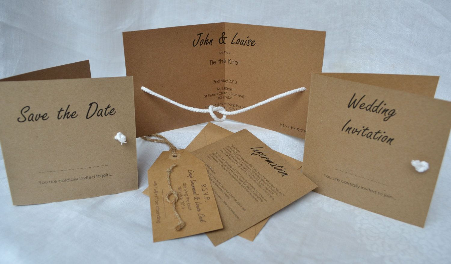 New Designtie The Knot Folded Wedding Invite Rsvp Kraft Card Tie The Knot  Folded Wedding Invite