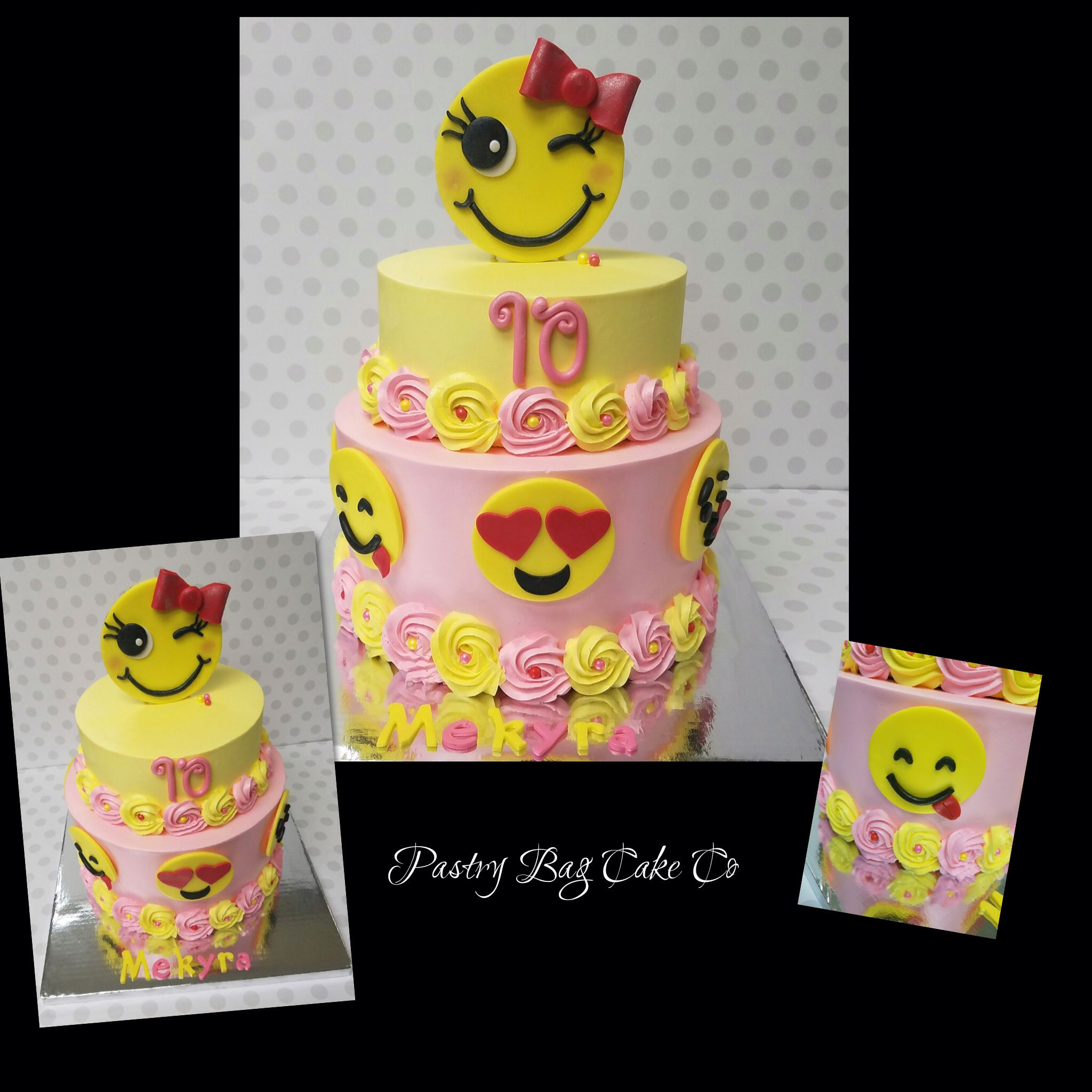 Emoji Cake Buttercream Cake With Pink And Yellow Rosettes - 11th birthday cake ideas