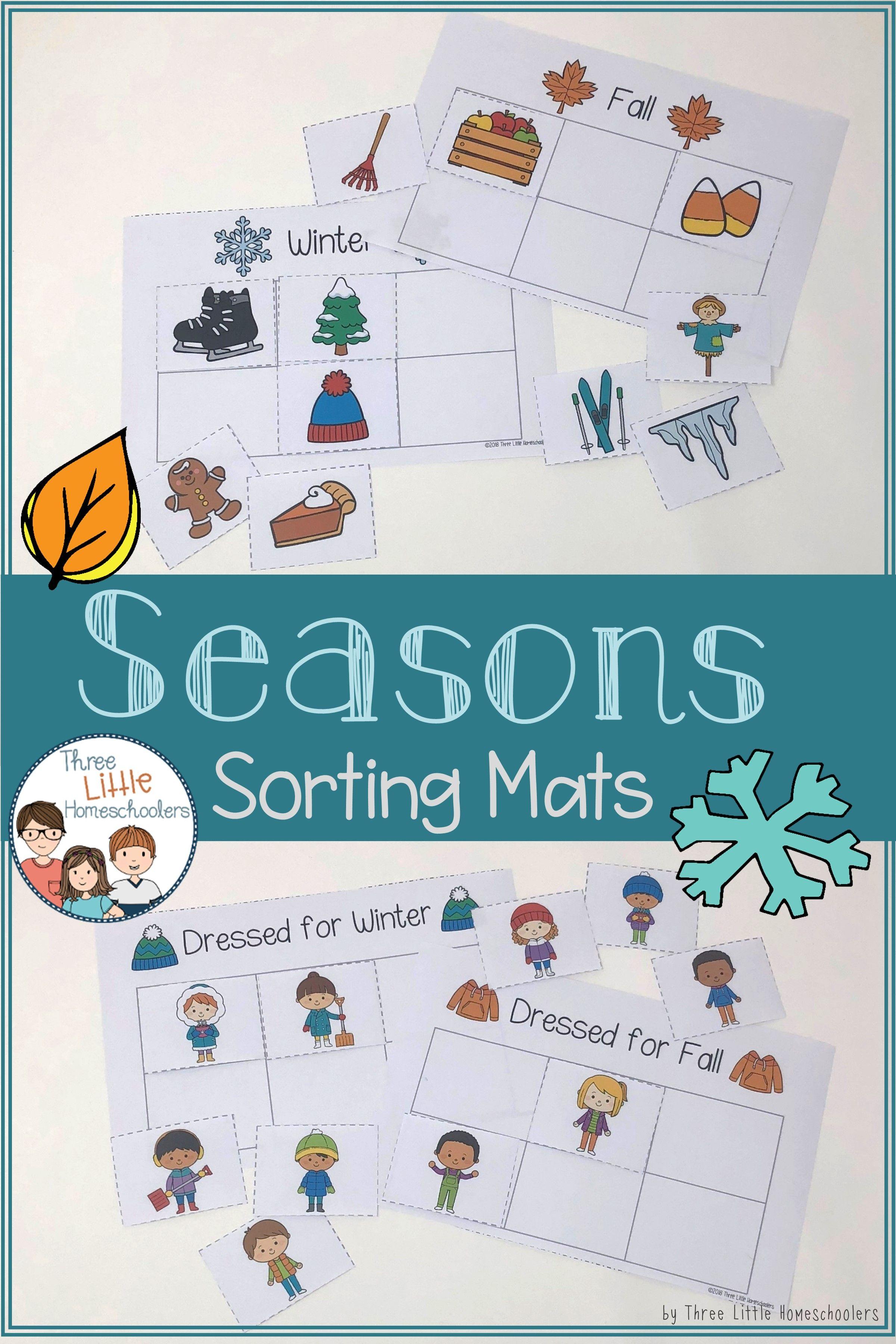 Seasons Sorting Mats And Worksheets
