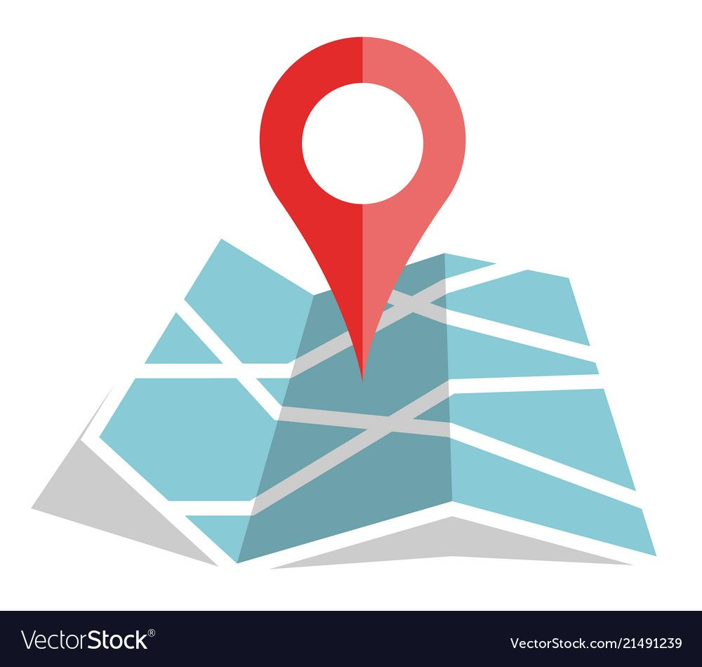 Flat color location icon on paper map vector image on