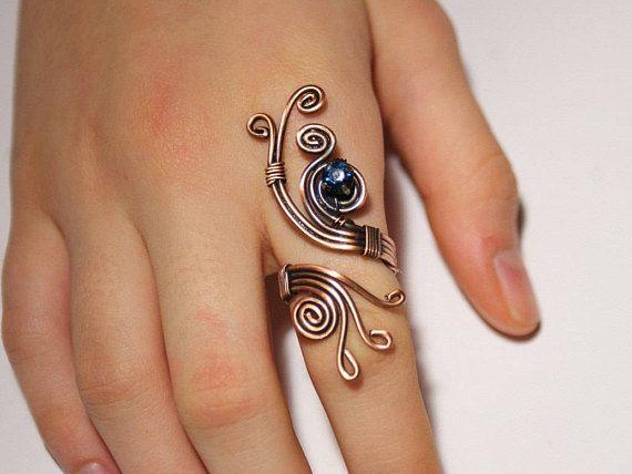 Photo of Drahtgewickelter Schmuck handgefertigter Ring, Kupferdrahtschmuck, Drahtwickelring, handgefertigter Kupferring, Drahtwickelring