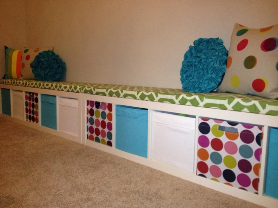 ikea expedit turned playroom storage bench