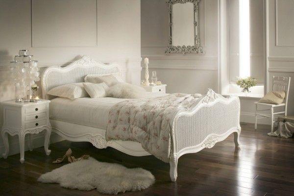 Provence Rattan White Wooden Bed Frame, White Wicker Bedroom Furniture Uk