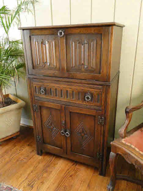 antique liquor cabinet - Antique English BAR~Pop Open Cocktail Cabinet~ Liquor Carving - Liquor Cabinet Antique Antique Furniture