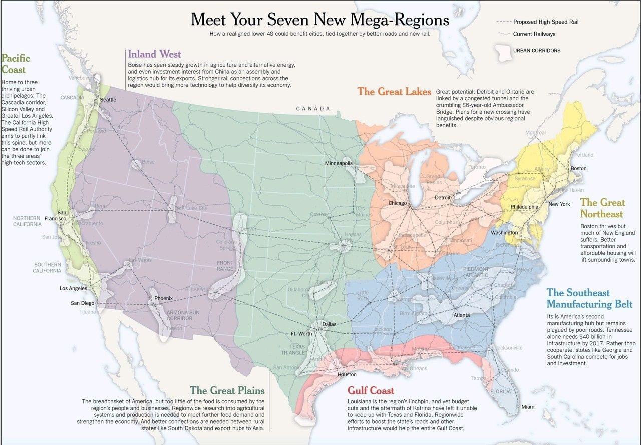 Map of the seven infrastructure mega-regions in the U.S. ...