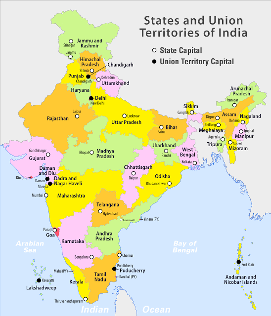 Location Of Ranchi In India Map.India States And Uts Map Of India Cooperative Federalism Quasi