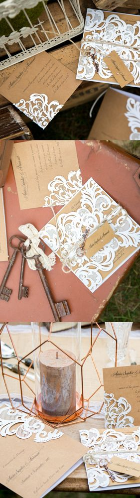 Faire-part mariage personnalisé dentelle chic au design unique et chic
