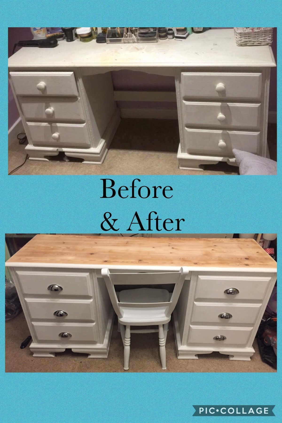 Dressing table makeover to desk. Sanded and white waxed top ...