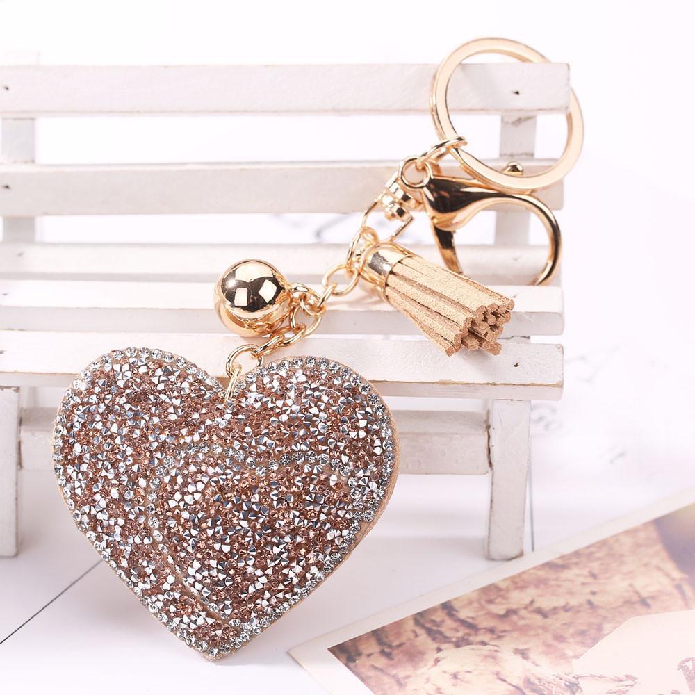aba000e7d308d Love Rhinestone Tassel Keychain Bag Handbag Key Ring Car Key Pendant ...